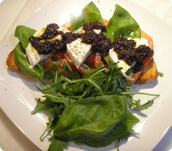 bruschetta caprese with rocket