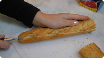 slicing the baguette