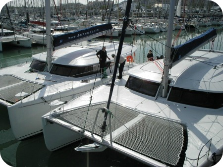 Catamarans getting ready to be delivered